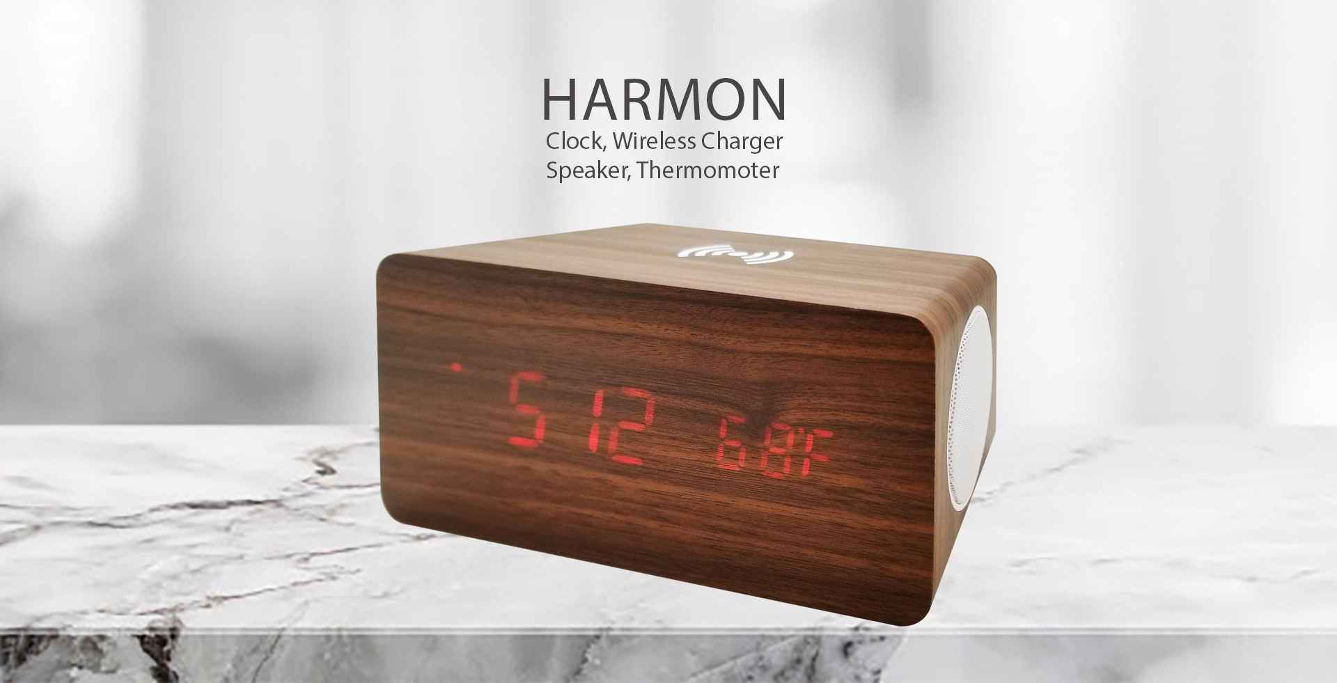 4-in-1 Clock, wireless charger, speaker, thermometer. A convenient clock for your home or office.