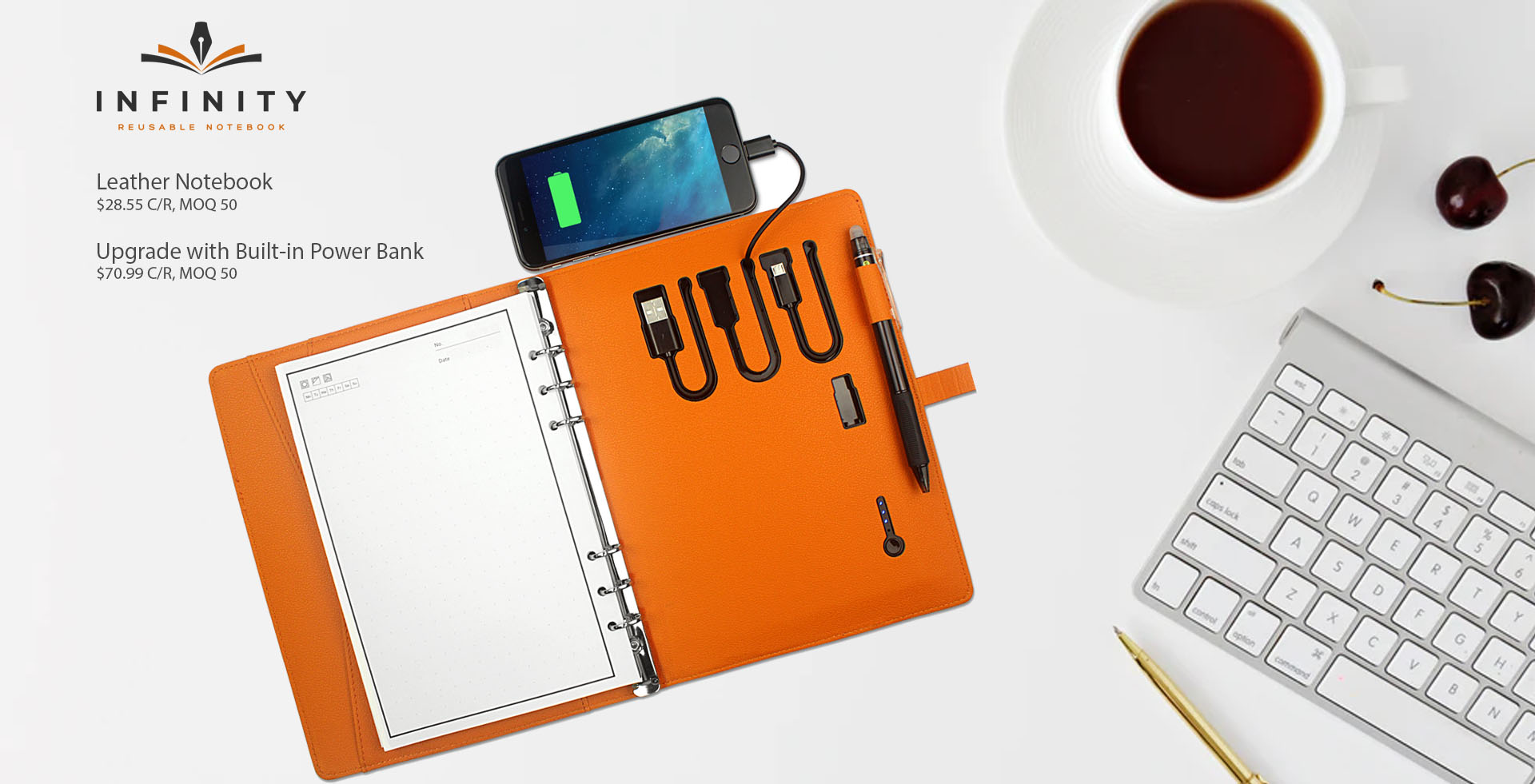 The INFINITY Leather Notebook for work, education and project management.