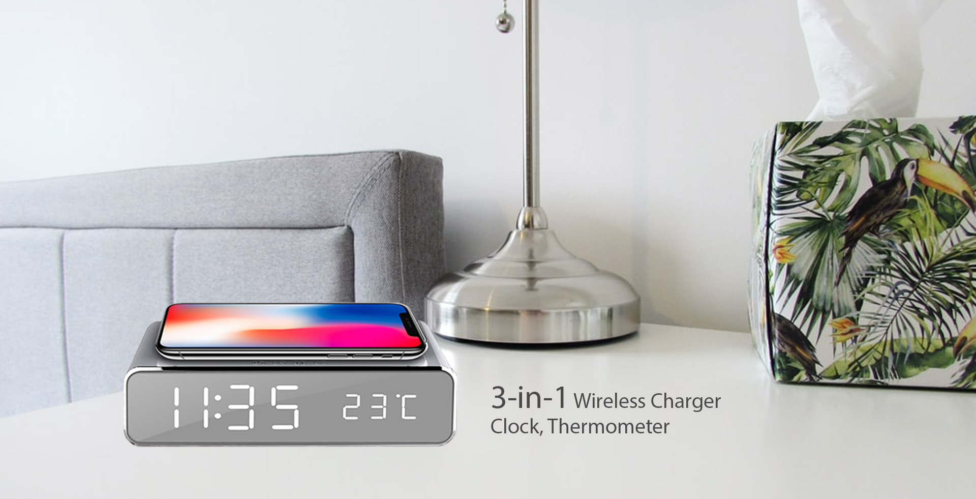 3-in-1 Clock, wireless charger, and thermometer. A convenient clock for your home, bedside to stay organized and clean.