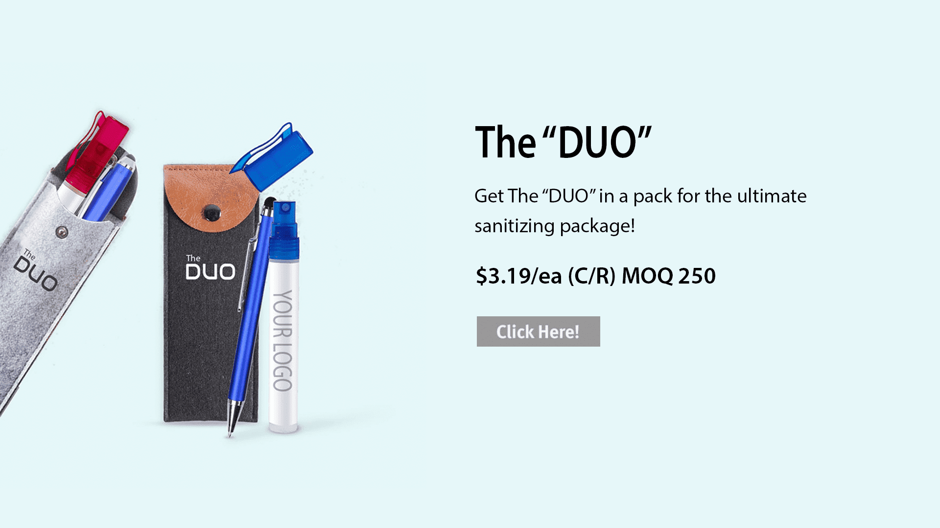 The DUO. The ultimate pack for disinfecting and sanitizing gadgets in public and when traveling.
