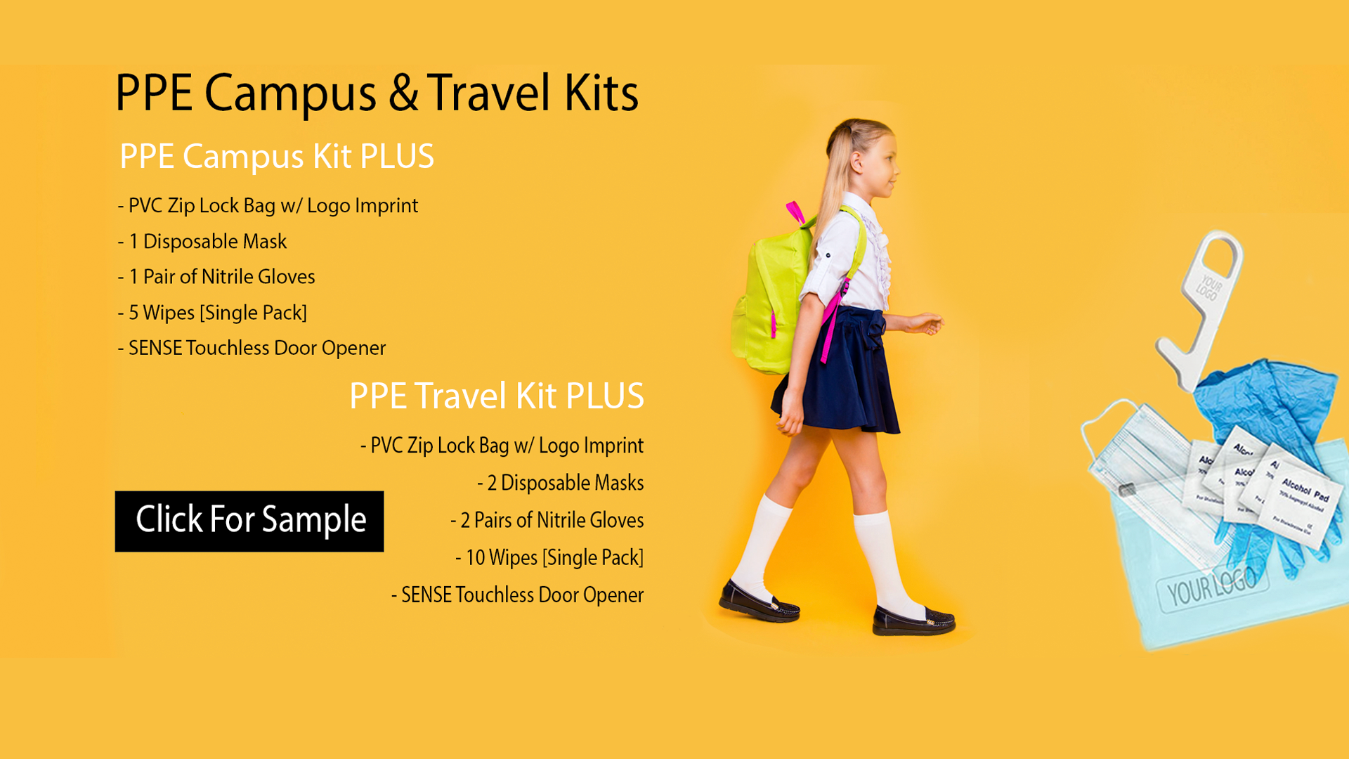 Travel and Campus kit for education, campus, and school activities. Frequent travelers need to use wipes for efficient germ killing.